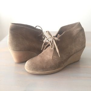 J. Crew Tan Suede Wedge Ankle Bootie Size 7